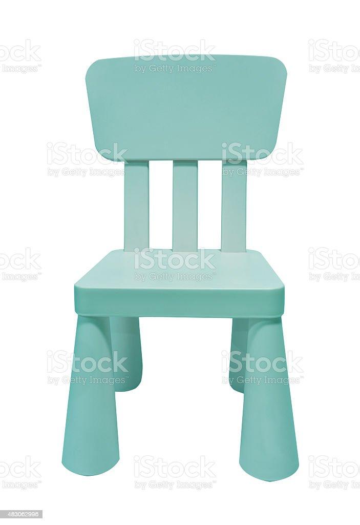 Blau Kinder Kunststoff Stuhl, isoliert auf weiss – Foto