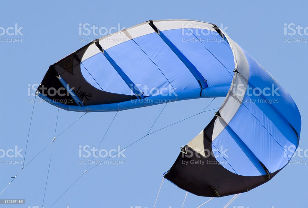Blue kiteboarding wing royalty-free stock photo