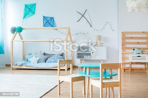 1213866189 istock photo Blue kites in kids bedroom 844458796