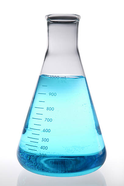 blue lab beaker used in lab research(with clipping path) - beaker stock photos and pictures