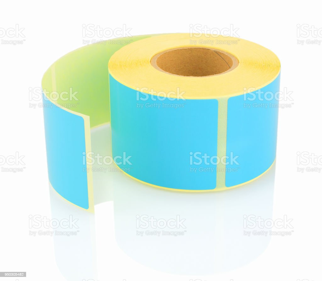 Blue label roll isolated on white background with shadow reflection. Color reel of labels for printers. Labels for direct thermal or thermal transfer printing. Blue stickers. stock photo