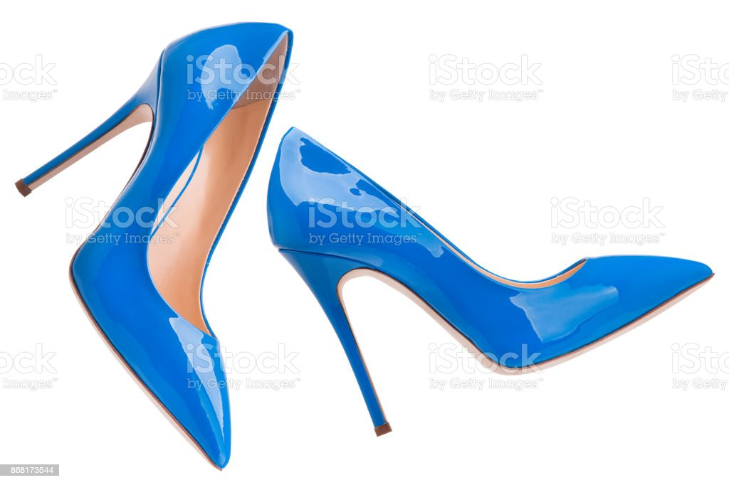 Blue lacquered high-heeled shoes stock photo