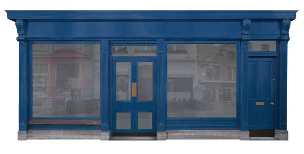 blue lacquered wooden facade from a sales room, isolated on white background - store window stock pictures, royalty-free photos & images