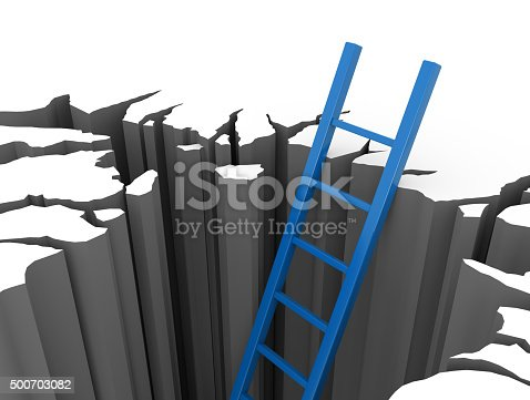 1048837520 istock photo Blue ladder leads out of a pit 500703082