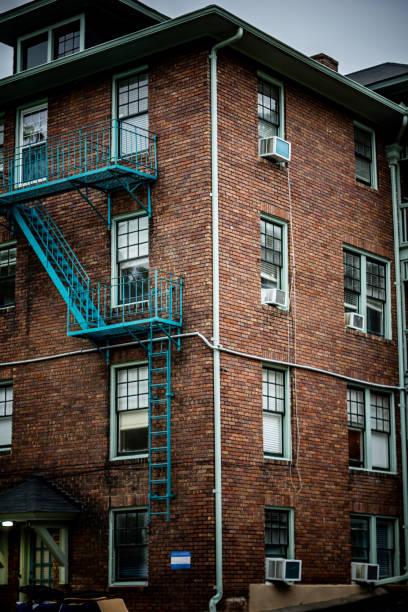 Blue ladder stock photo