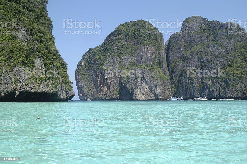 Blue Lagoon and Karst Mountains Krabi Thailand stock photo