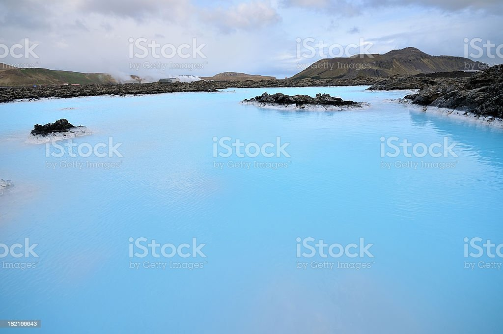 Blue Lagoon and Power Plant in Reykjavik, Iceland stock photo