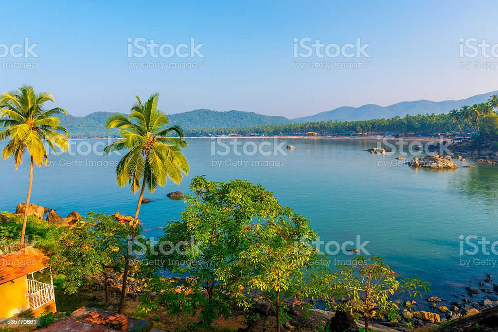 Blue Lagoon and the rising sun in Goa stock photo