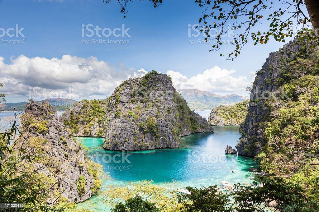 Blue Lagoon at Kayangan Lake, Coron island, Philippines stock photo