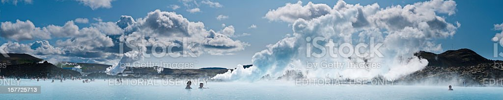 Blue Lagoon bathers geothermal steam panorama Reykjavik Iceland stock photo