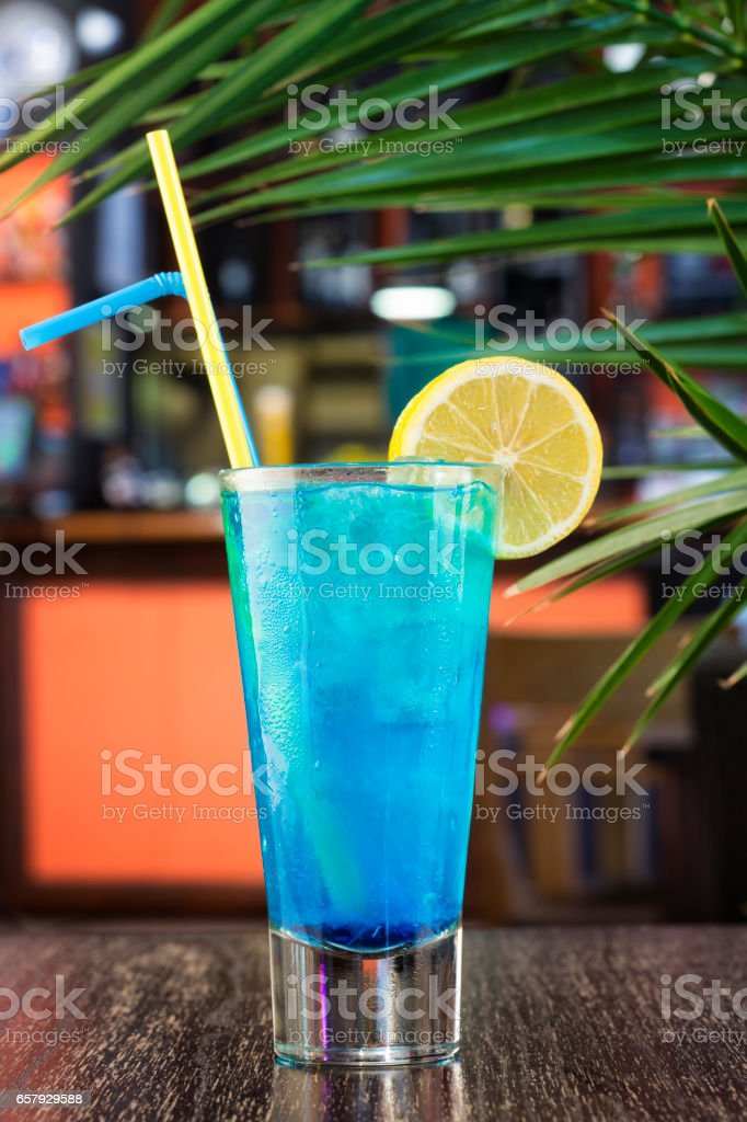 Blue lagoon cocktail in a glass stock photo