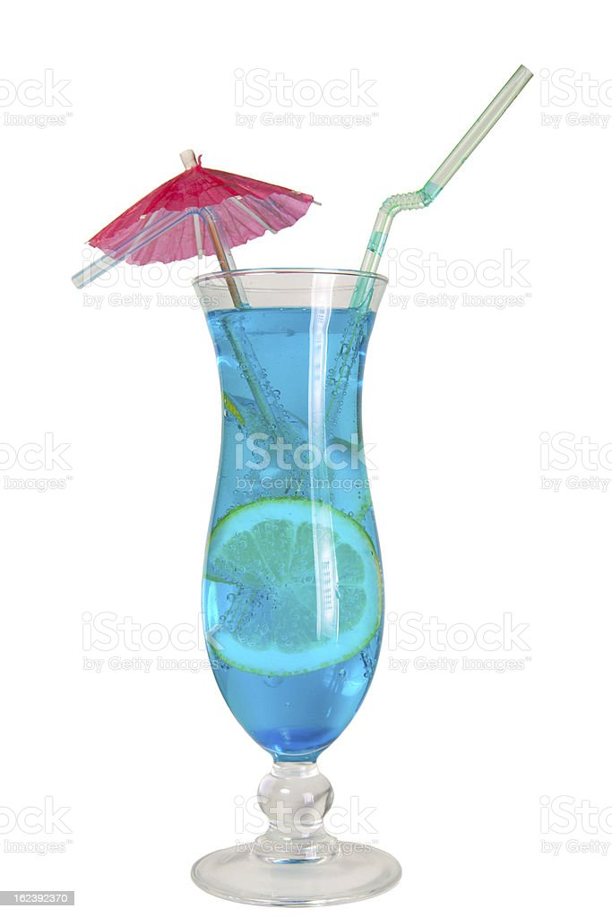 Blue Lagoon cocktail isolated royalty-free stock photo