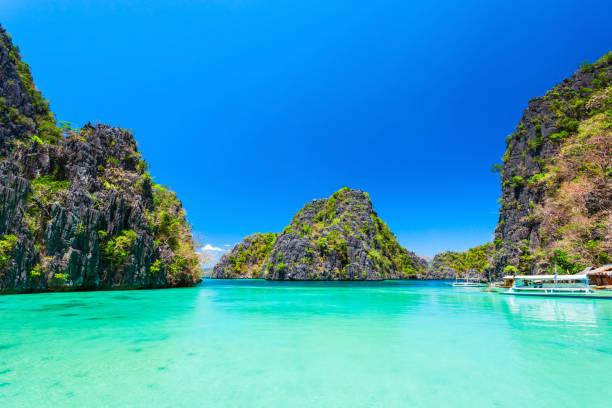 Blue lagoon, Coron island bay, Palawan stock photo