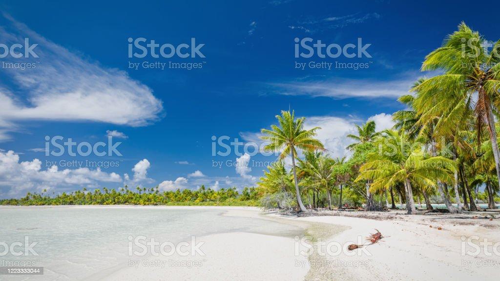 Blue Lagoon Fakarava Atoll Teahatea Beach Panorama French Polynesia Panorama of French Polynesia Fakarava Atoll Teahatea Blue Lagoon Beach. Teahatea, the beautiful, untouched natural lagoon and beach in the UNESCO Nature Biosphere Reserve with tropical palm trees. Blue Lagoon Beach, Fakarava Atoll Island, Tuamotu Islands Archipelago, French Polynesia, South Pacific Ocean. Atoll Stock Photo