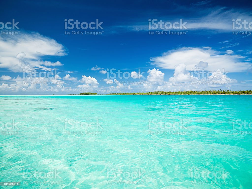 Blue Lagoon Fakarava Tuamotu Archipelago French Polynesia royalty-free stock photo