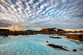 Amazing clouds and reflection at the Blue Lagoon in Iceland