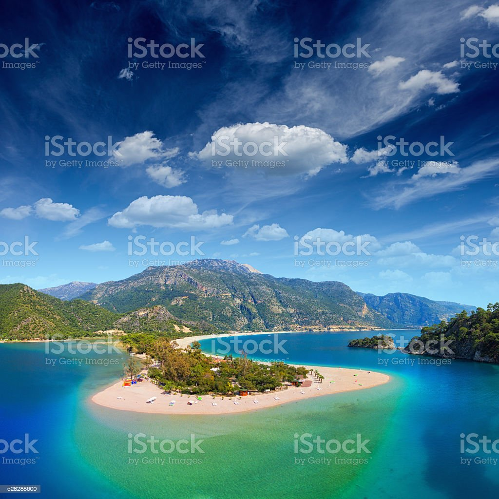 Blue lagoon in Oludeniz stock photo