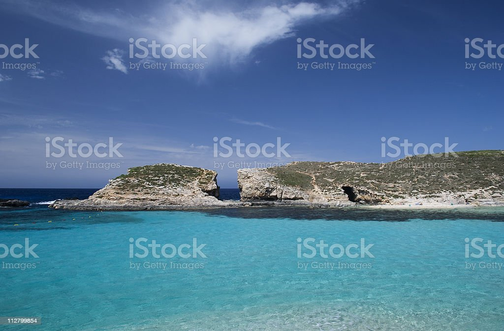 Blue lagoon in the country of Malta royalty-free stock photo