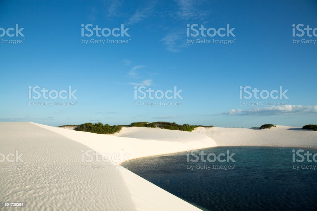 Blue Lagoon in the white sands of the Maranhenses sheets stock photo
