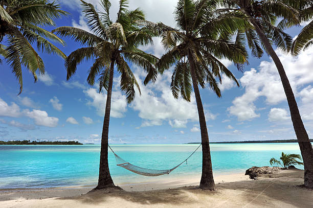Blue Lagoon A hammock hangs in the shade of Coconut Palms beside a beautiful tropical turquoise lagoon south pacific ocean stock pictures, royalty-free photos & images