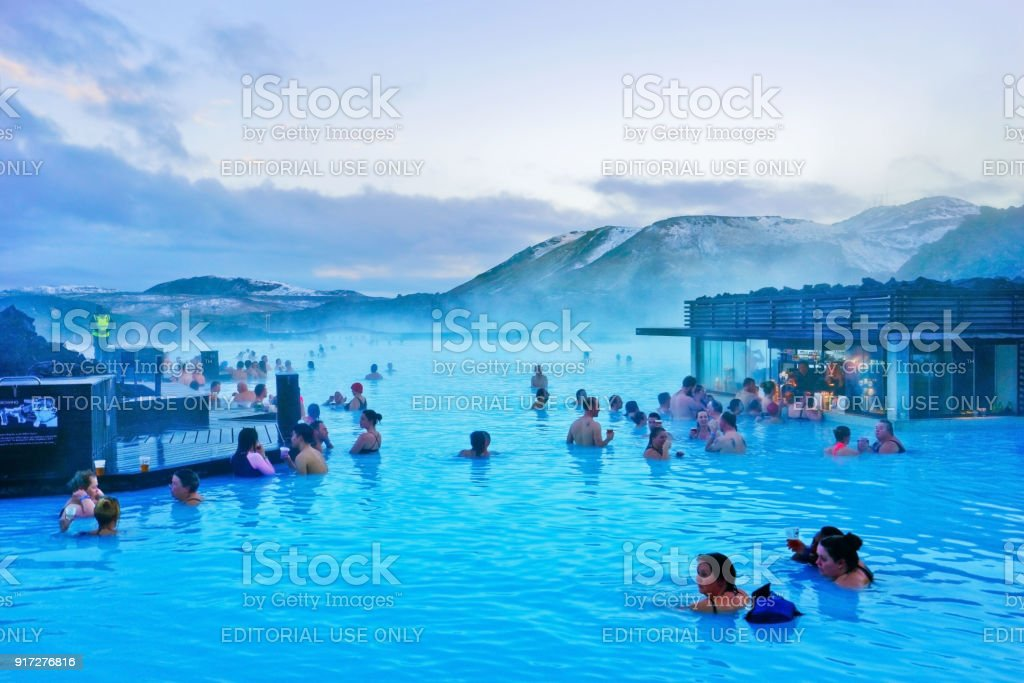 Blue Lagoon pool in Iceland stock photo