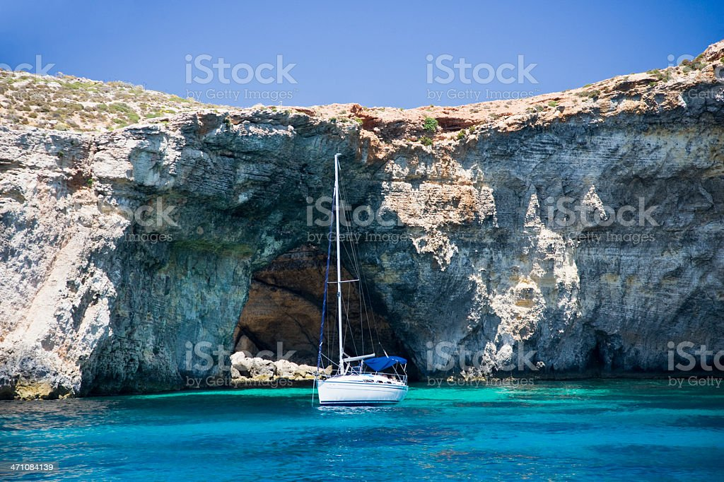 Blue Lagoon Sailboat stock photo
