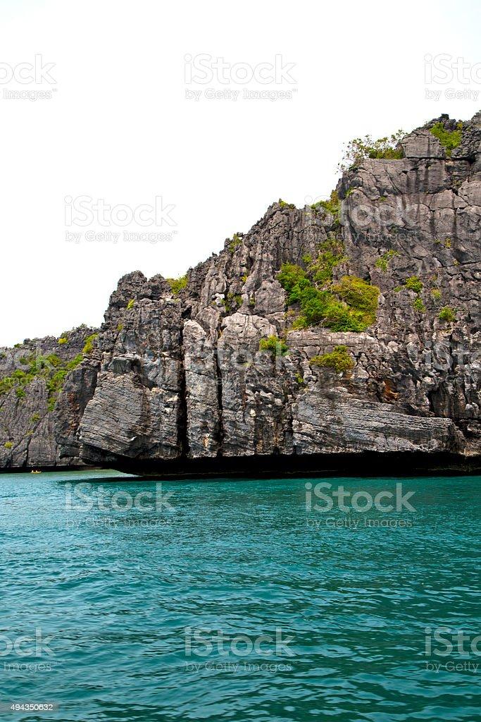 blue lagoon  stone in   phangan  bay abstract   south china se stock photo