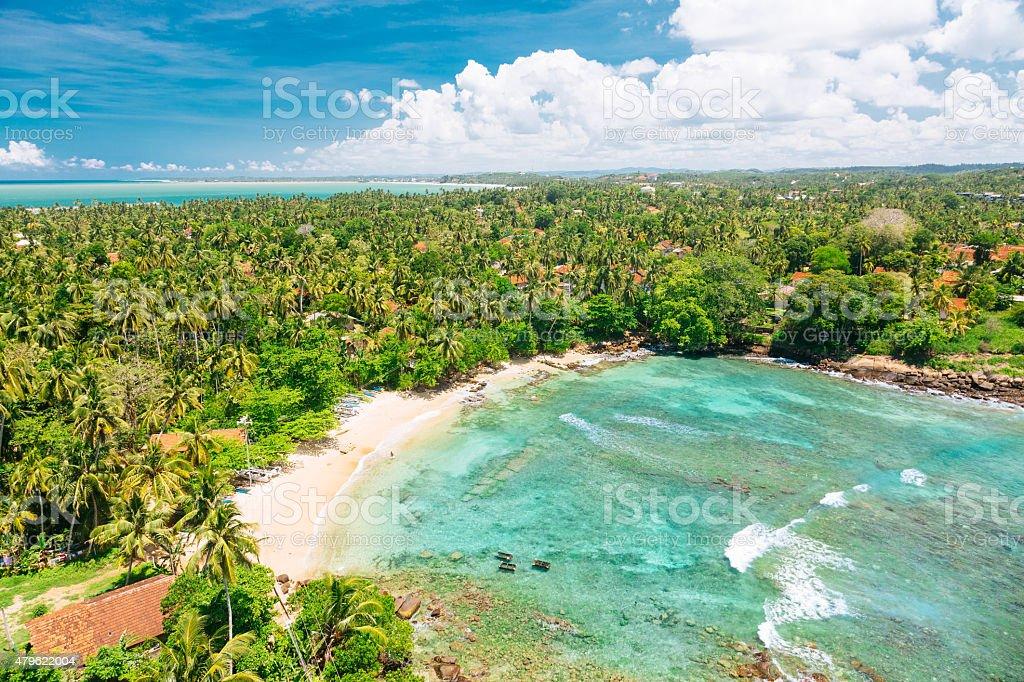 Blue lagoon. View from the Dondra Lighthouse, Sri Lanka stock photo