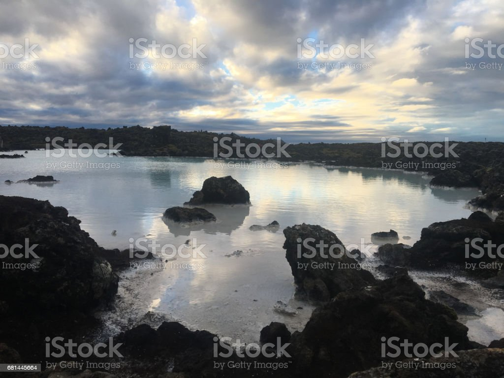 Blue lagoon water in Iceland. stock photo