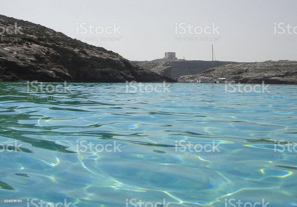 Blue Lagoon waters in Malta stock photo