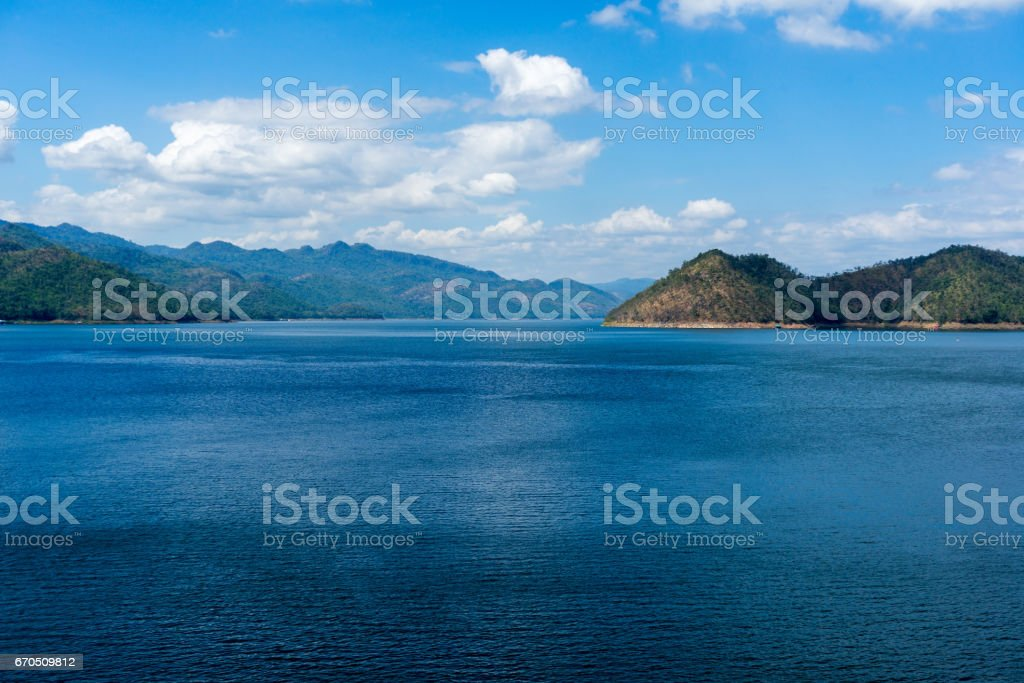 Blue lake and mountain view at Srinakarin Dam stock photo