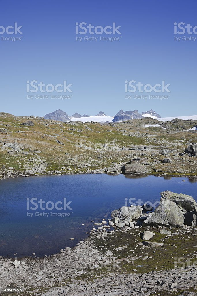 Blue lake  and mountains with snow. royalty-free stock photo