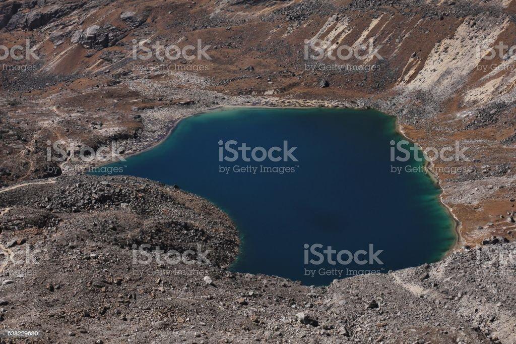 Blue lake Angladumba Tsho stock photo