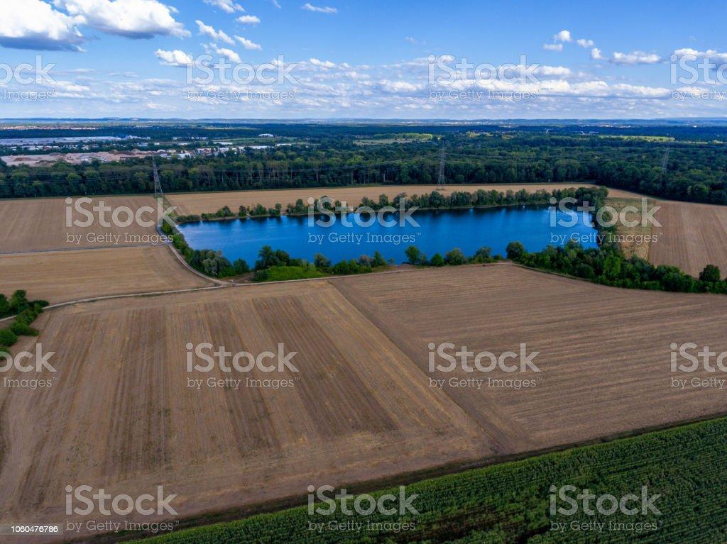 Blick auf den blauen See Drohne – Foto