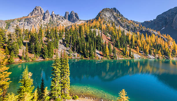 Blue Lake in North Cascades stock photo