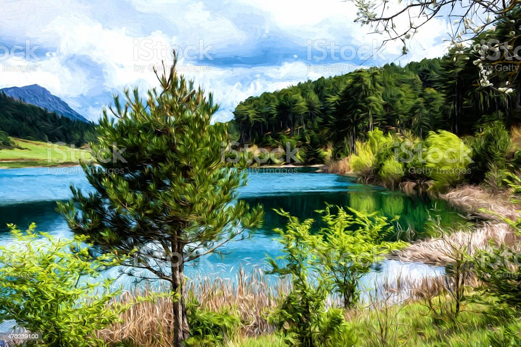 Blue Lake in the mountains - Painting effect stock photo
