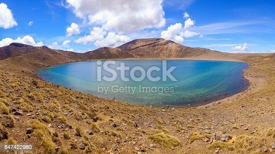 Landscape stock photograph of Blue Lake in Tongariro National Park, North Island, New Zealand.