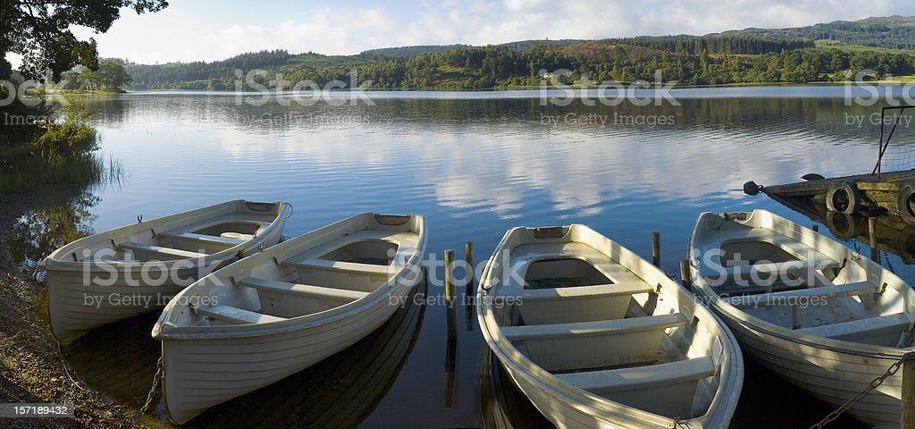 Blue lake, white boats royalty-free stock photo