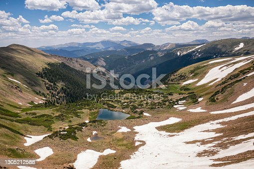 istock Blue Lake with Mount Evans in the background 1305212588