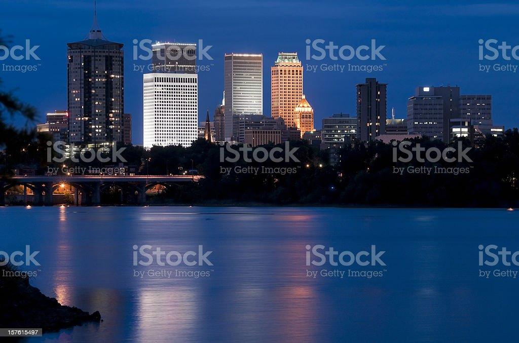 Blue landscape of the Tulsa, Arizona skyline at twilight stock photo