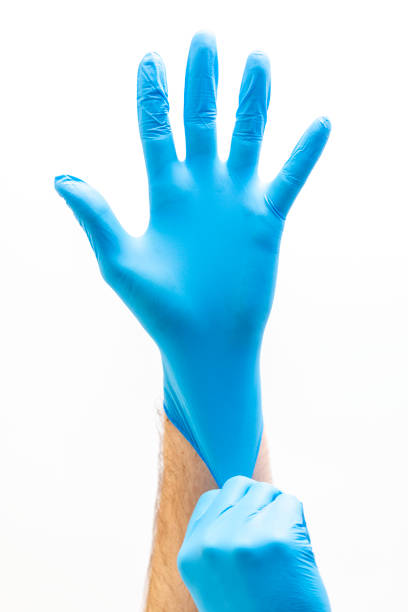 Blue Latex Doctor Medical Gloves Blue latex gloves for medical purposes on a white background protective glove stock pictures, royalty-free photos & images