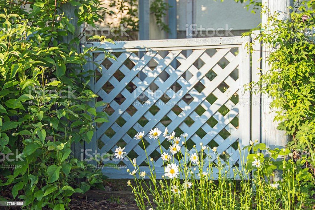 Blue Lattice Garden Gate Leading To A Vegetable Garden Stock Photo