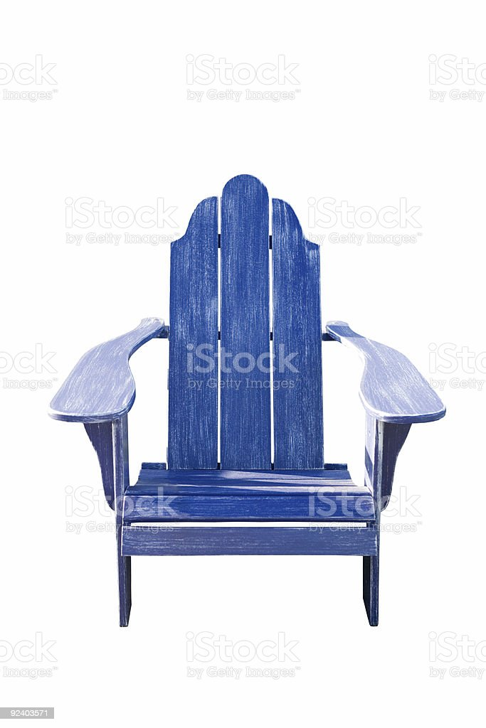 Blue Lawn Chair stock photo