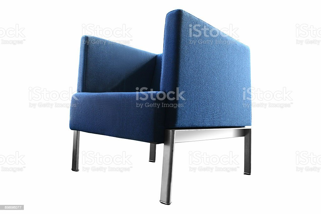 Blue leather chair on a white background royalty-free stock photo