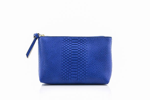 Blue leather cosmetic bag. - foto stock