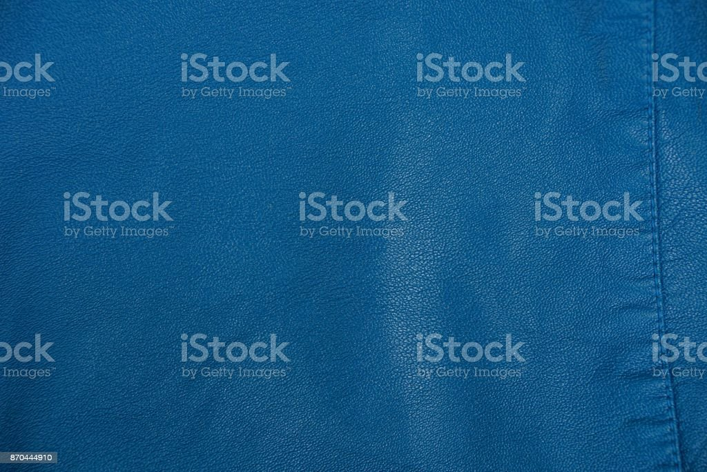 blue leather texture of a piece of clothing stock photo