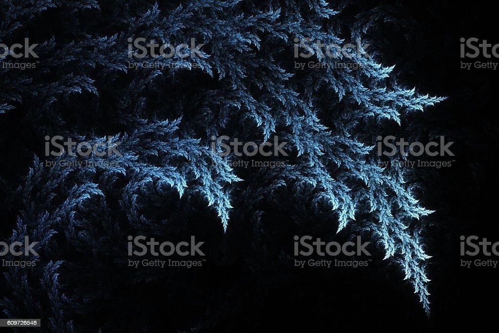Blue leaves on black background stock photo