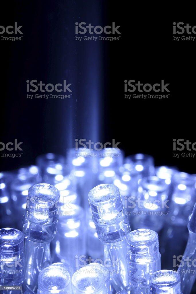 Blue LED lights closeup with light beam stock photo