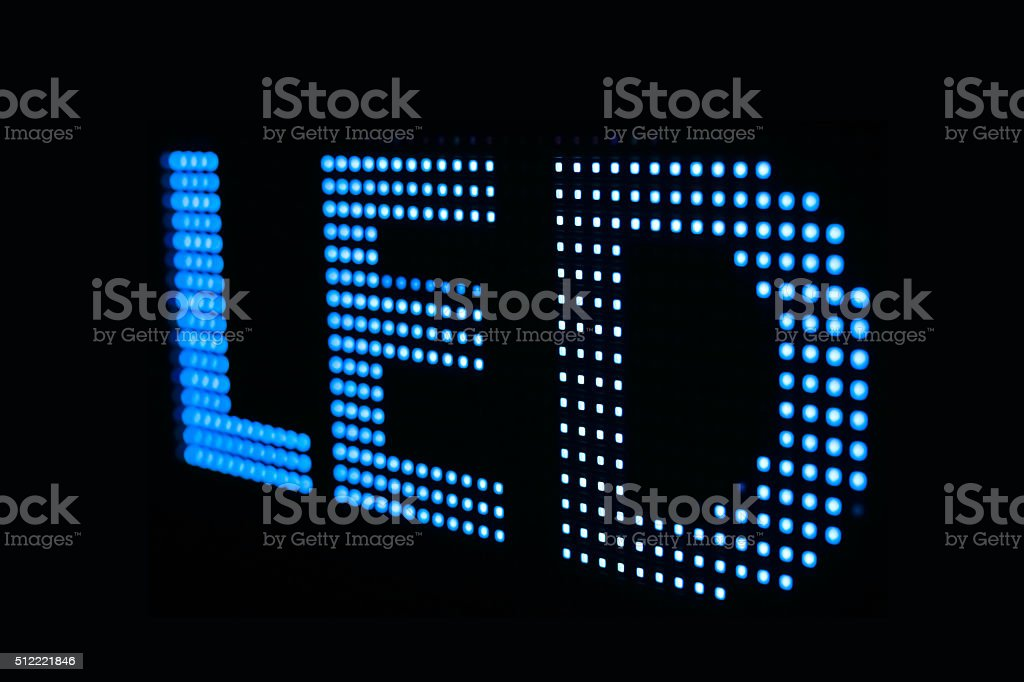 Blue LED sign at the LED smd screen stock photo