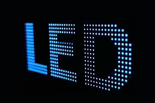 Blau LED-Schild am smd-LED-Fernseher – Foto